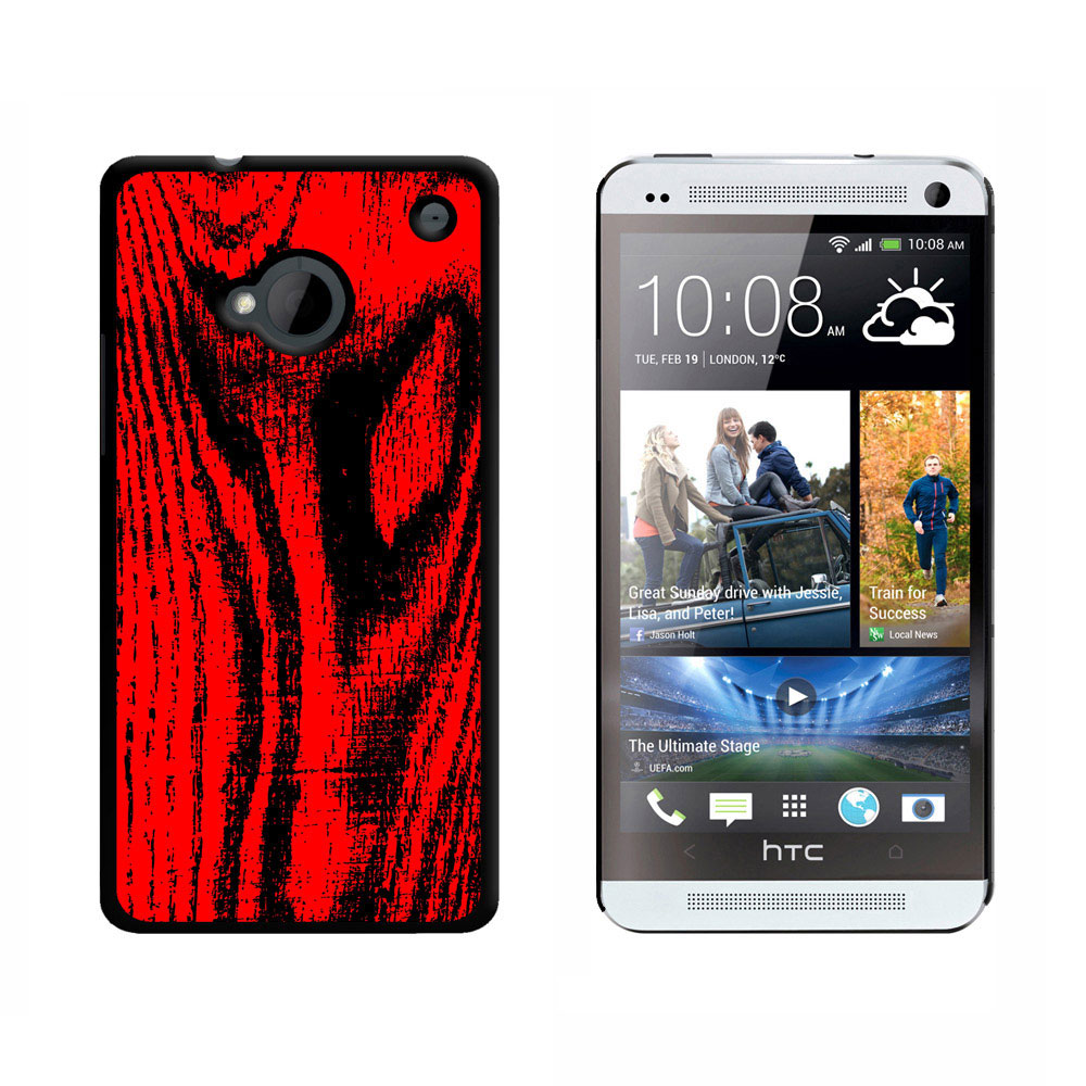 Wood Grain Red HTC One Case