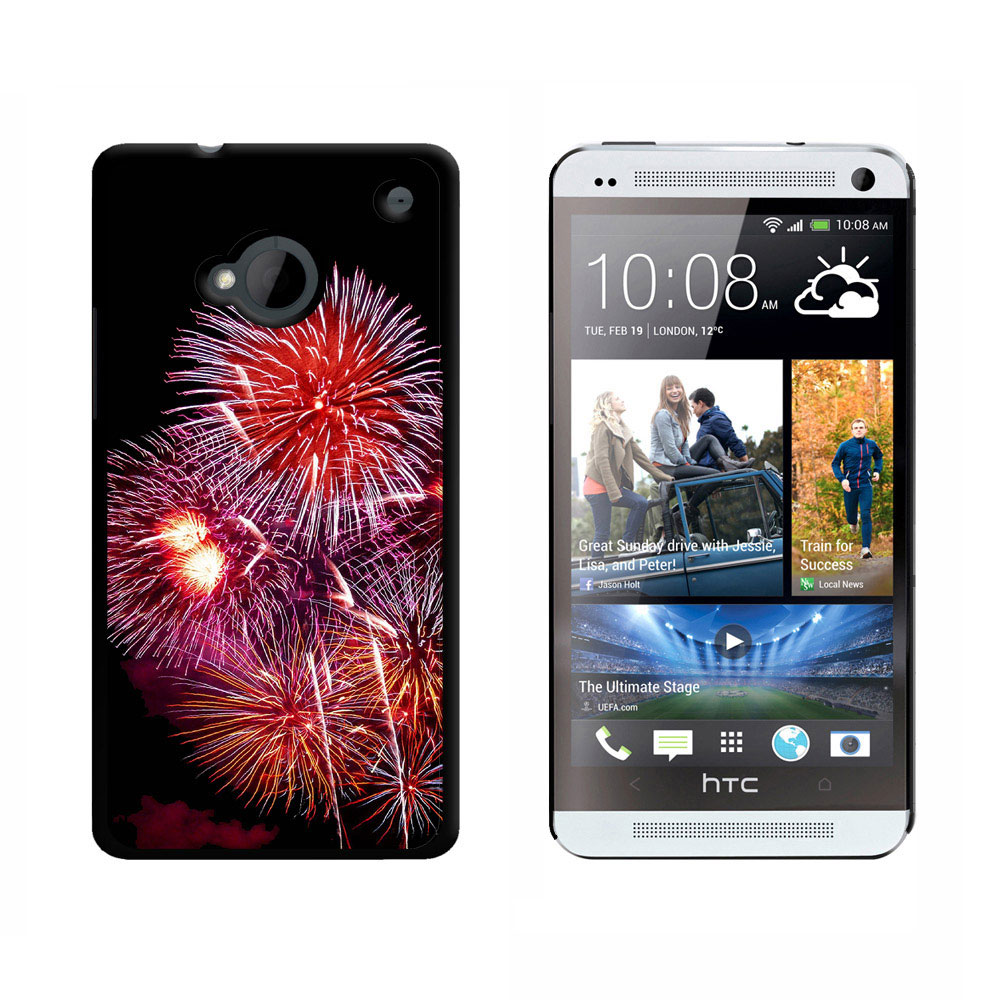 Multiple Fireworks at Night HTC One Case