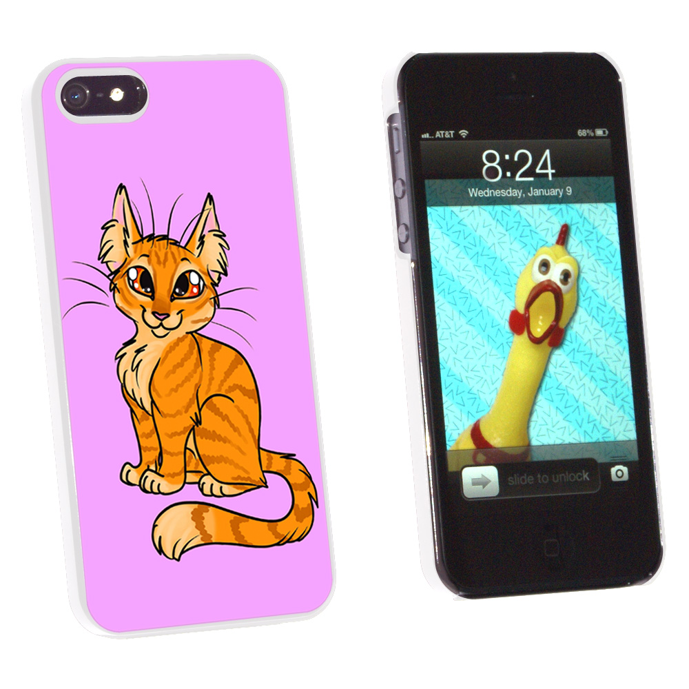 Graphics and More Tabby Cat Orange On Pink - Pet - Snap On Hard Protective Case for Apple iPhone 5 - White at Sears.com