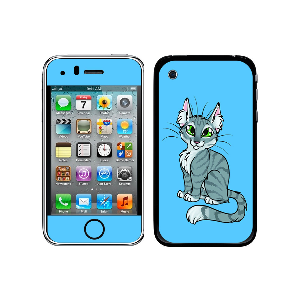 Tabby Cat Gray Grey On Blue - Pet Galaxy iPhone 3G/3GS Skin