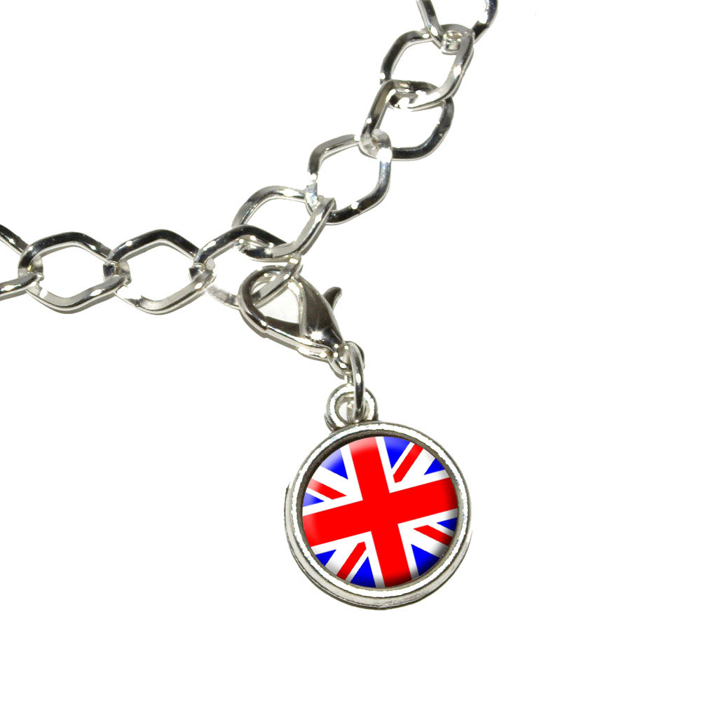 Britain-British-Flag-Union-Jack-Antiqued-Bracelet-Charm-with-Lobster-Clasp
