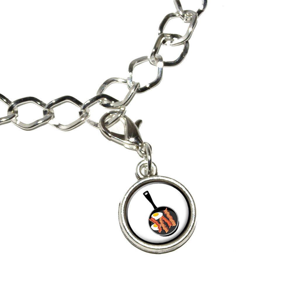 Bacon-and-Eggs-White-Breakfast-Antiqued-Bracelet-Charm-with-Lobster-Clasp