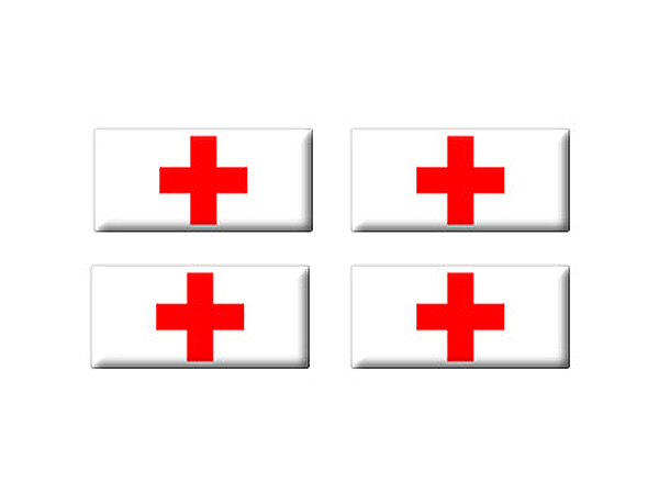 Red Cross - Set of 3D Stickers