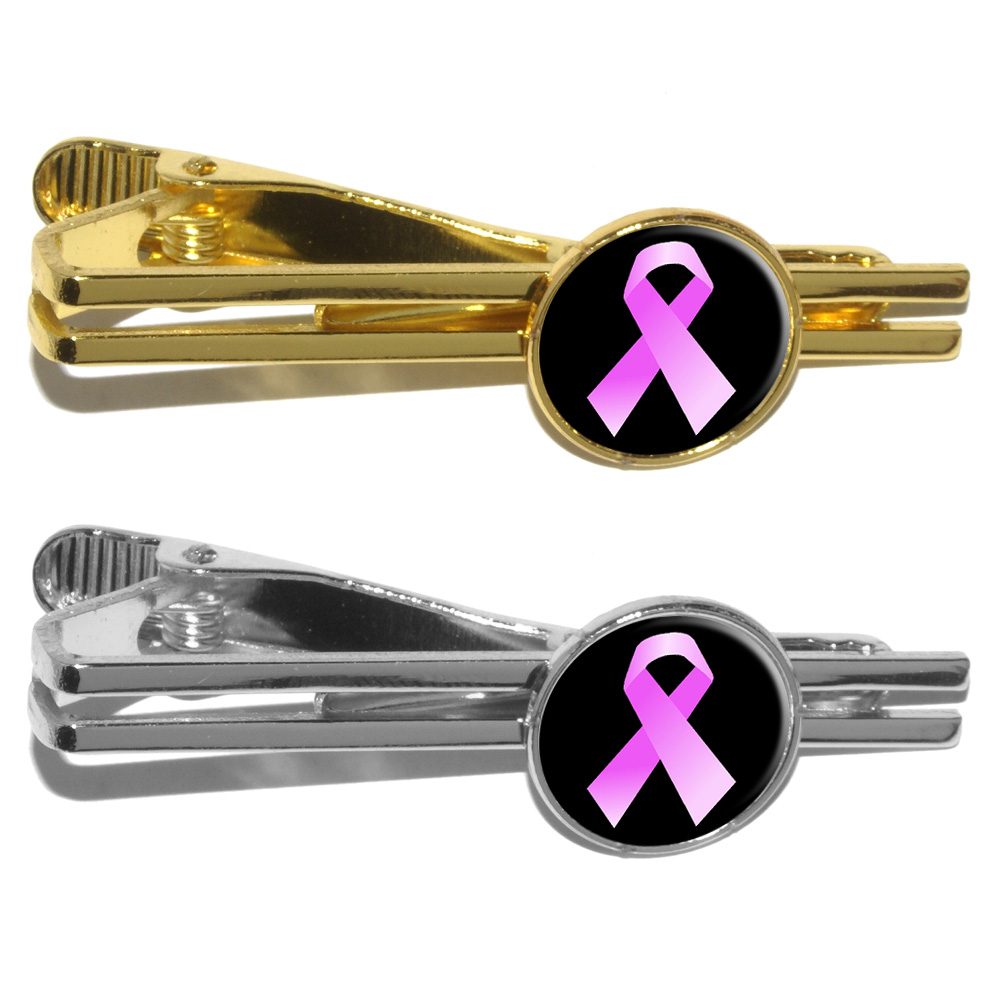 Ribbon Tie Bar : Breast cancer pink ribbon on black round tie bar clip