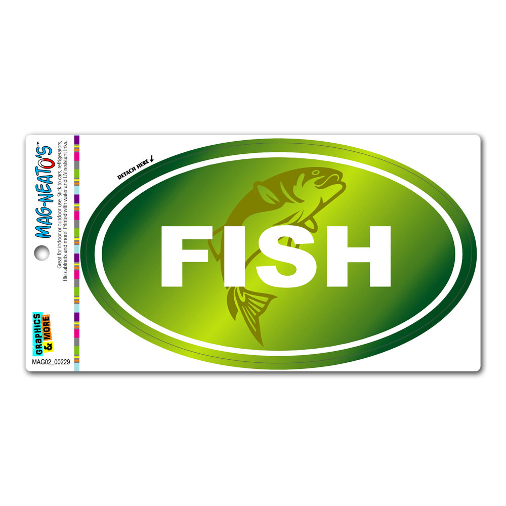 Fish Fishing Sportsman - Euro Oval MAG-NEATO'S(TM) Car/Refrigerator Magnet