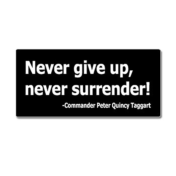 Never Give Up Never Surrender Sticker