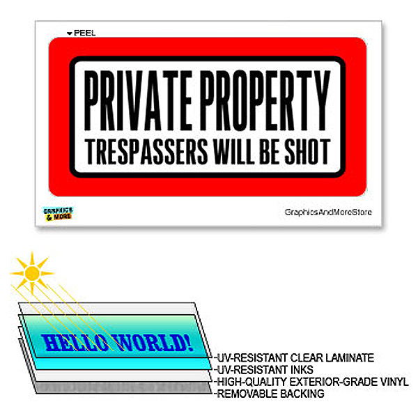 Private Property Trespassers Shot - 12 in x 6 in - Laminated Sign Warning Sticker