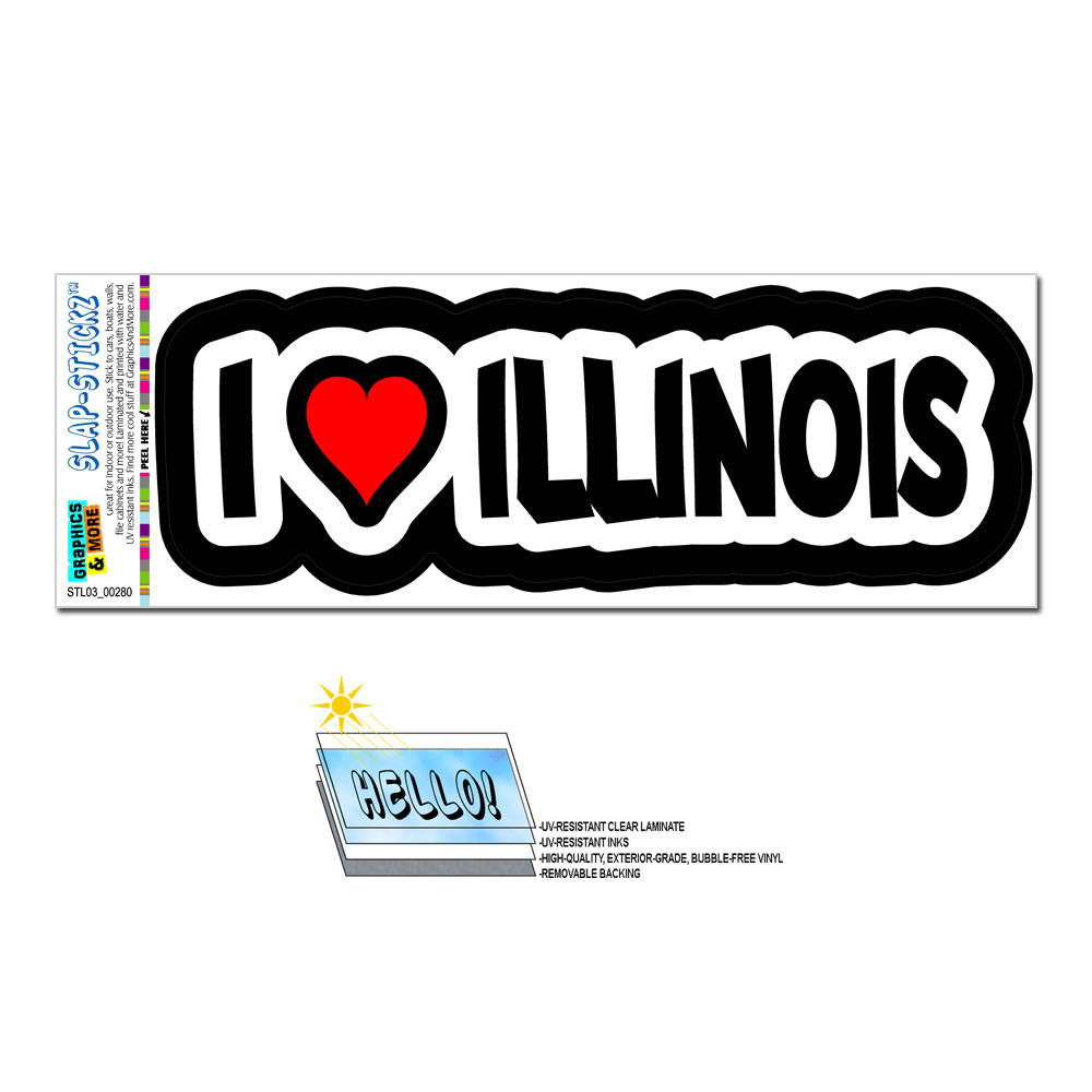 I Love Heart Illinois SLAP-STICKZ(TM) Premium Sticker
