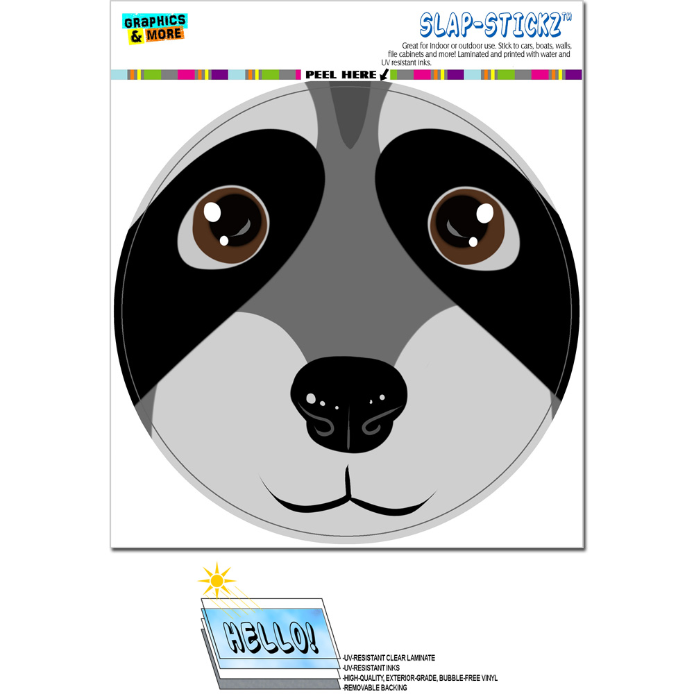 Raccoon Face - Close up Circle SLAP-STICKZ(TM) Premium Sticker