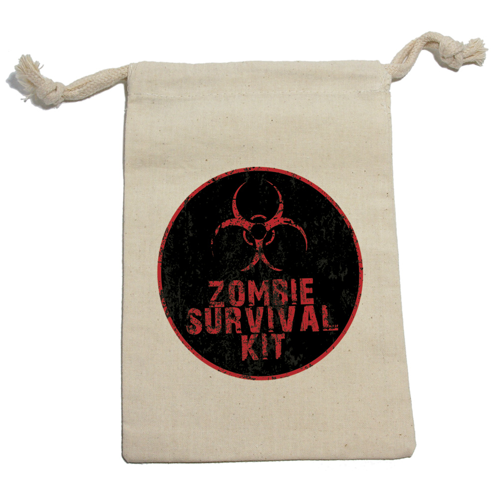 Zombie Survival Kit - Birthday Boy Muslin Cotton Gift Party Favor Bags