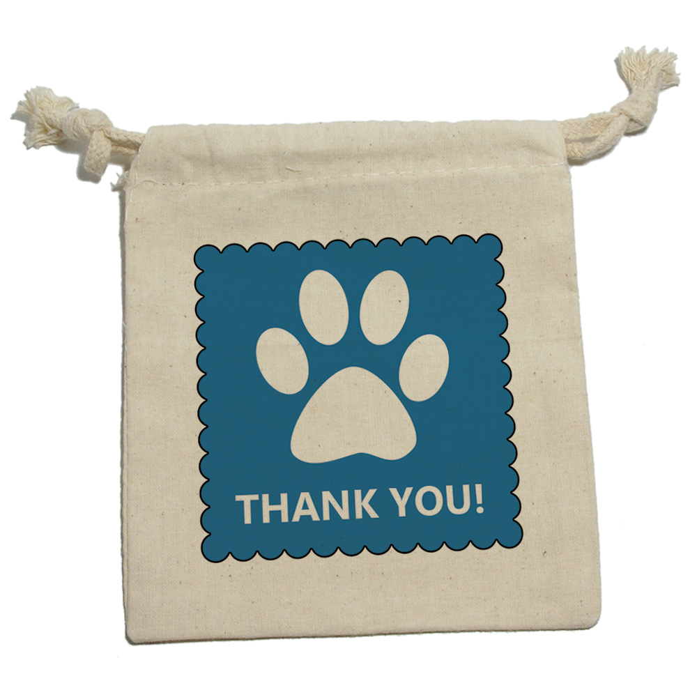 Baby Boy Gift Thank You Cards : Thank you dog paw print blue birthday baby boy cotton