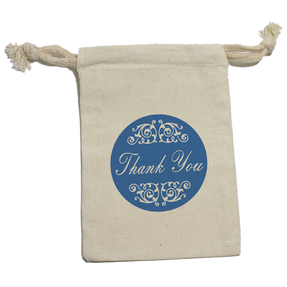 Thank You Wedding Gift Bags : You Elegant Scrolls Blue Birthday Shower Wedding Gift Party Favor Bags ...